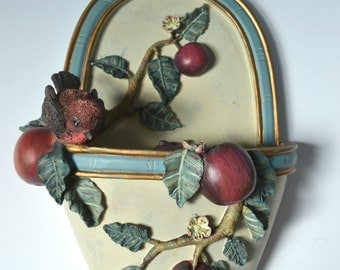 Wall hanging with fruits design, Fruit wall pocket, Apples  wall decor, Fruit and Bird sculpture, Apples and Bird, Wall hanging pocket