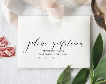 Custom Envelope Calligraphy; Wedding, Hand-written Address in Adams Style Font