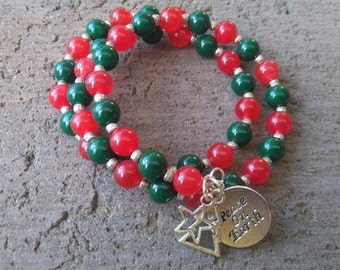 Christmas beaded memory wire bracelet