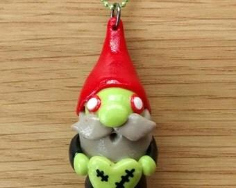 Cute little zombie Gnome pendant/necklace