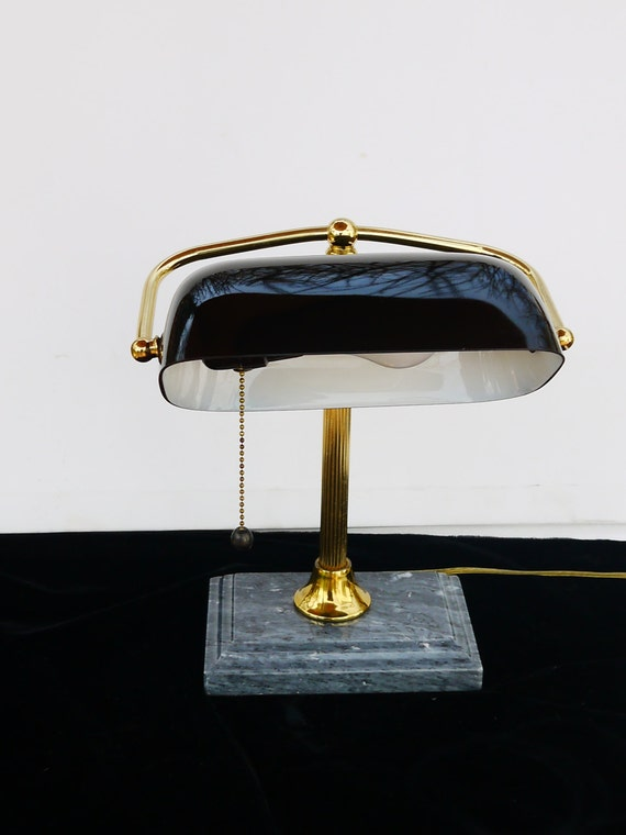 Executive Desk Lamp : S brass and black marble w glass shade desk