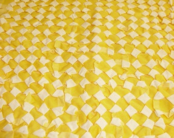 Yellow and White Stitched Design Pillow Cover Top, Create a Pillow!