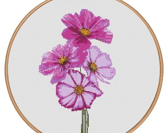 MORE for FREE - Cosmos Purple - Counted Cross stitch pattern PDF - Instant Download - Cross Stitch Pattern - Flowers-Love- Needlepoint #1509