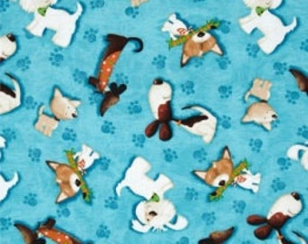 Aqua Blue Quilting Fabric Dog Print - Fat Quarter
