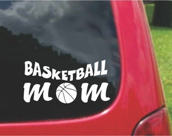 Set (2 Pieces)  Basketball Mom Sticker Decals with custom text 20 Colors To Choose From.  U.S.A Free Shipping