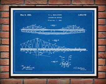 Patent 1923 Suspension Bridge - Art Print - Poster Print - Wall Art - Bridge Engineering Design -