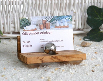 Holder for business cards made of olive wood