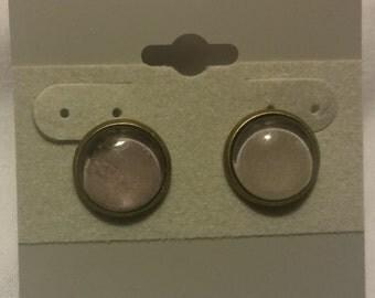 Handmade Grey Glass Bead Stud Earrings