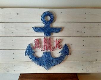 Custom Anchor Monogram, Anchor Wedding Guestbook Alternative, Beach Wedding Guestbook, Nautical Wedding Guestbook Monogram Wedding Board