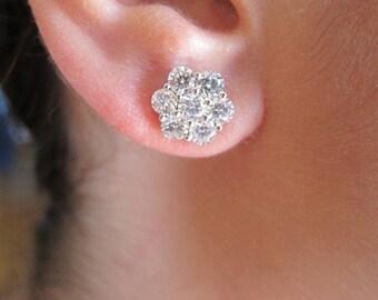 1.38ct F VS2 1 Diamond Flower Cluster 14k White Gold Earring
