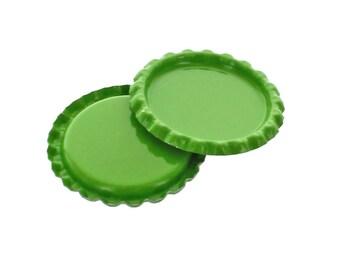 10 Caps - Flattened Green Bottle Caps