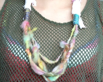 Fiber art necklace (pink yellow) /art yarn necklace