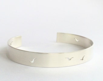 Solid silver cuff bangle with birds
