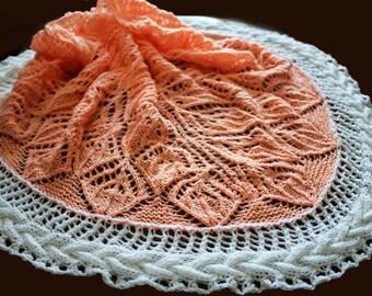 Knitted scarf - shawl,  knit shawl, wraps shawls, knitted shawl,crocheted shawl, pink white shawl, two-tone scarf