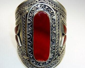 Tribal Bracelet, Vintage Carnelian Kuchi Tribal Bracelet, Nomad Bracelet, Handmade, Nomad Jewelry, Ethnic Jewelry, Tribal Jewelry