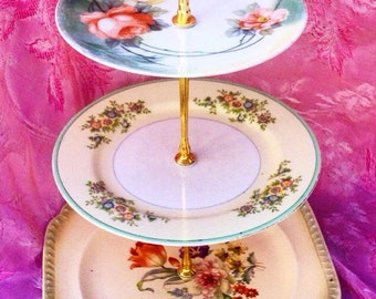 Flower Garden Cheerful, Tea Server, Orange and Green, Three Tier, 3 Tier Cupcake Stand, Vintage China, Tea Party, Girly, Tiered Tray, Sweets