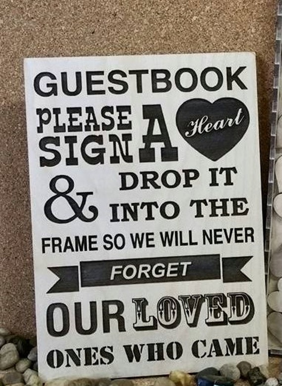 Wedding Guest Book Sign In Sign Please Sign A Heart
