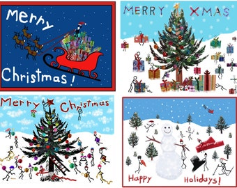 Christmas cards - Merry Christmas!  Merry Xmas!  Happy Holidays!