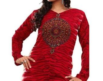 Beautiful Red Crepe Tunic