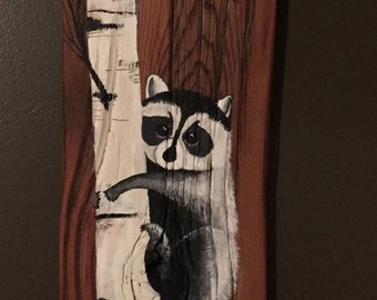 Hand painted Raccoon on Barn Wood