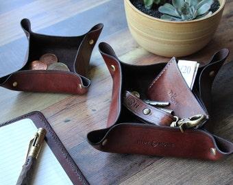 Leather Valet Tray & Desk Tidy Set