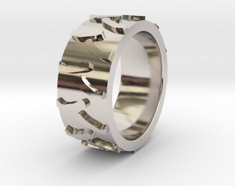 tire tread ring farm tire ring wedding band tire jewelry tractor ring - Mud Tire Wedding Rings