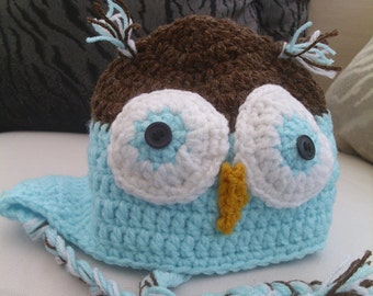 Turquoise Crocheted Owl Hat