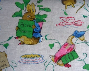 Beautiful, Vintage Peter Rabbit Fabric Panel, C1950s Cotton.