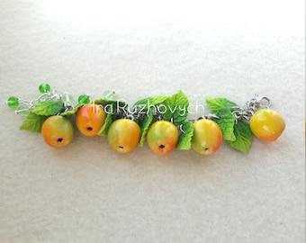 Apple bracelet, polymer clay