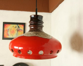 west german pottery pendant light by Richard Essig