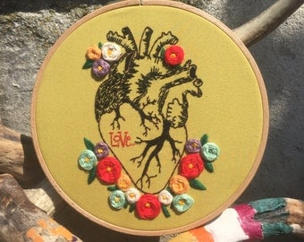 Heart & Roses Hoop - Wall Hanging
