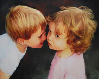 EXAMPLE ONLY. Siblings, Children, Oil Painting, Family, 16x20