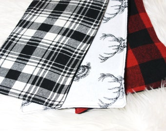 Baby burp cloths- flannel burp cloth, buffalo plaid, deer head, burp cloth set for baby boy, baby girl burp cloths, gender neutral baby gift