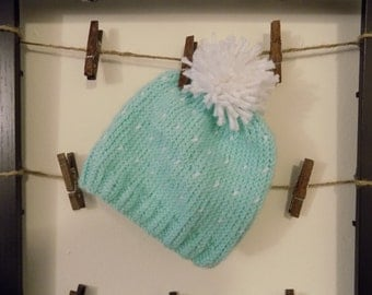 Baby Hat + Light Teal Blue and White