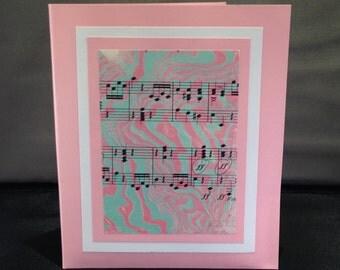 Marbled Cards on Vintage Sheet Music, set of four in folder