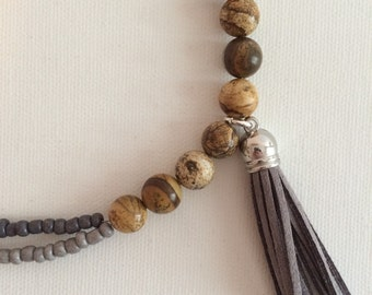 Jasper Tassel Necklace