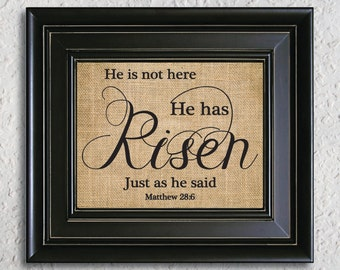Matthew 28:6 - He is Risen - He is Not Here - Christian Wall Art - Bible Verse - Scripture Art - Hope Sign burlap print -7Z