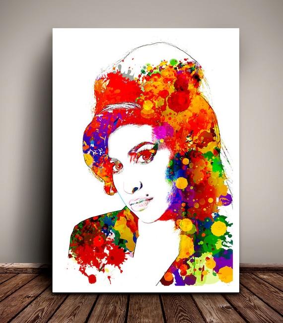 Amy Winehouse // Paint Splatter & Sketched effect // Unique Art Print // Home Decor Art