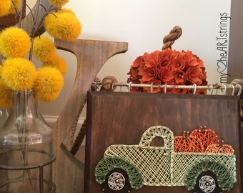 String art pumpkin truck