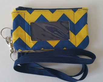 Navy and Yellow Chevron Print Zippered ID/Phone Pouch