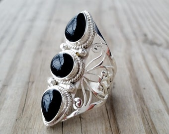 Black Onyx Ring - Black Ring - Silver Chunky Ring - Black Stone Ring - Tribal Ring - Multistone Ring - Gothic Jewelry