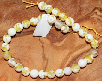 """8"""" Strand of 6mm Faceted Agate Rounds ***Dyed Yellow Beads #42, 43, 44, 45 and 46"""