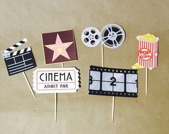 Movie Night cupcake topper