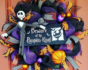 Jack Skellington wreath. Halloween wreath. Jack wreath. Jack Skellington decor. Halloween decorations. Pumpkin king wreath. Nightmare wreath