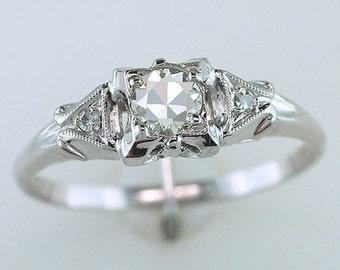 Vintage Antique .31ct Diamond 14K White Gold Art Deco Engagement Ring