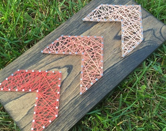 Ready to Ship: Fading Arrows Brown Stained String Art