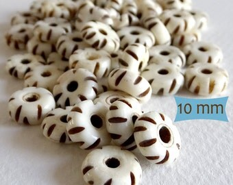 Notched Bone Rustic Disk Spacers--10 Pcs | 20-BN220-10