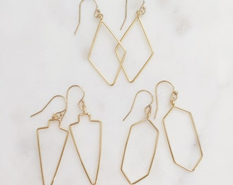 CHASE | Simple Gold Wire Geometric Earrings | Gold Arrowhead Earrings | Gold Diamond Shape Earrings | Gold Geometric Earrings
