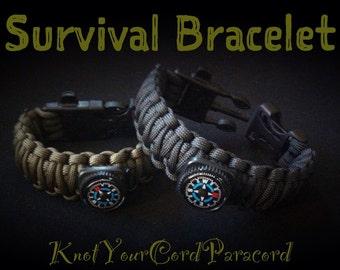 5 in 1 Paracord Survival Bracelet - Fire Starter Buckle - Whistle Buckle - Compass - Flint Rod w/ Metal Striker - King Cobra - Custom Made