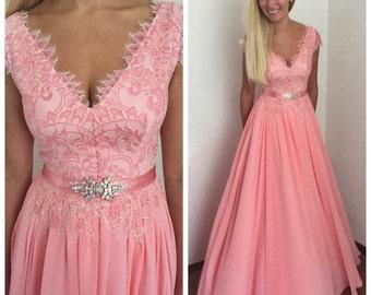 Pink salmon  lace dress